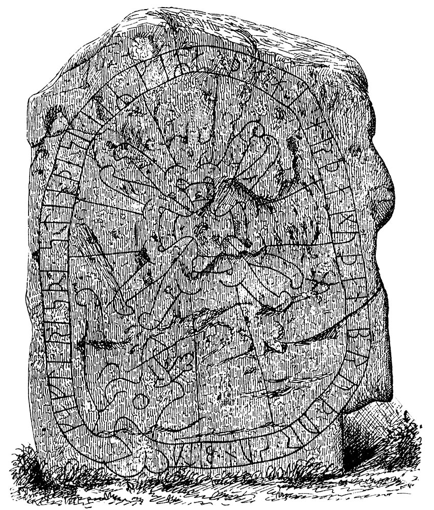 Rune stones and rock carvings in sweden stone at