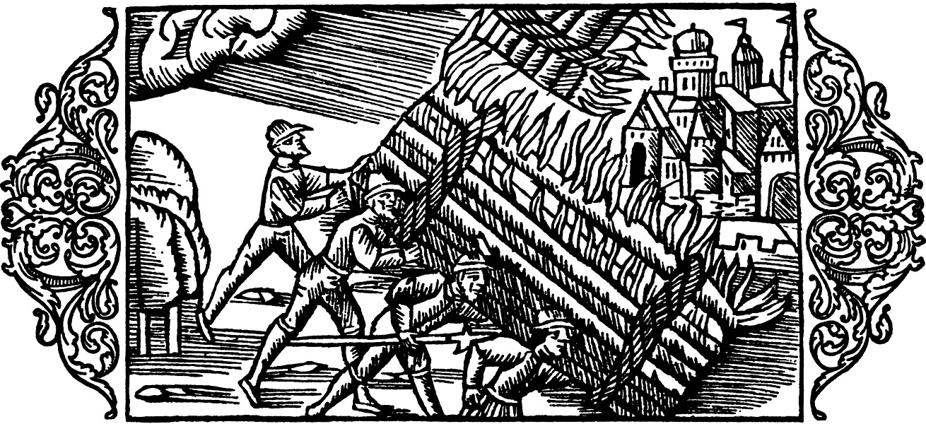 A crowd of peasants are attacking the castle of a cruel bailiff.